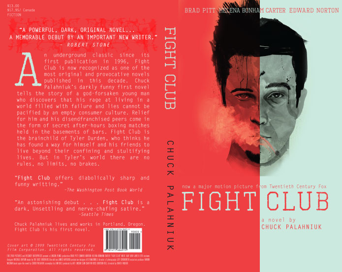 fight club novel symbolism Fight club book report by noga livni charles michael palahniuk, also known as chuck palahniuk, is an american novelist and a freelance journalist who was born in the early 60' fight club - palahniuk's first novel which won many awards was also made into a film, directed by david fincher and starring brad pitt, edward norton and helena bonham.